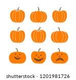 pumpkin logo. isolated pumpkin... | Shutterstock .eps vector #1201981726