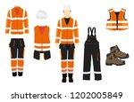 man worker in uniform.... | Shutterstock .eps vector #1202005849