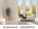 white room with armchair and... | Shutterstock . vector #1202009413