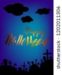halloween card with lettering... | Shutterstock .eps vector #1202011306