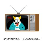horror news old tv. terrible... | Shutterstock .eps vector #1202018563