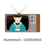 horror news old tv. terrible... | Shutterstock .eps vector #1202018563
