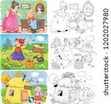 three fairy tales. cinderella ... | Shutterstock . vector #1202027980