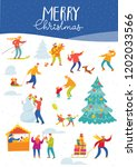vector christmas winter card... | Shutterstock .eps vector #1202033566