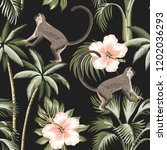 tropical vintage monkey  pink... | Shutterstock .eps vector #1202036293