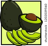 avocado complete and half with... | Shutterstock .eps vector #1202039560