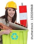a female construction worker...   Shutterstock . vector #120204868