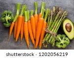 banches of fresh green... | Shutterstock . vector #1202056219