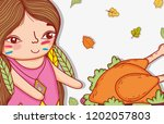 woman indigenous with turkey...   Shutterstock .eps vector #1202057803