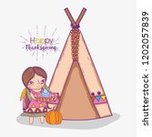 woman indigenous with cake and...   Shutterstock .eps vector #1202057839