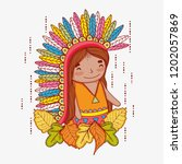 man indigenous with feathers...   Shutterstock .eps vector #1202057869