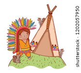 man indigenous with squirrels...   Shutterstock .eps vector #1202057950