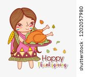woman indigenous and turkey...   Shutterstock .eps vector #1202057980