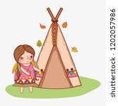 woman indigenous with camping...   Shutterstock .eps vector #1202057986