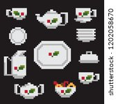 pixel tea set of dishes on a... | Shutterstock .eps vector #1202058670