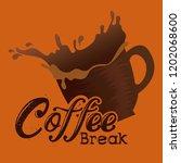 delicious coffee break label   Shutterstock .eps vector #1202068600