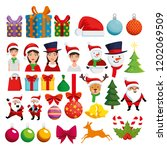 christmas decoration set icons | Shutterstock .eps vector #1202069509