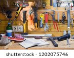 wooden workbench at workshop.... | Shutterstock . vector #1202075746