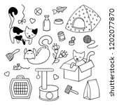 Stock vector set of items for the care of kittens black and white cute doodles 1202077870