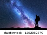 silhouette of man with backpack ... | Shutterstock . vector #1202082970