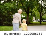 beautiful granny and her little ... | Shutterstock . vector #1202086156