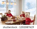 kids having breakfast on...   Shutterstock . vector #1202087629