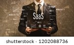 saas with businessman holding a ... | Shutterstock . vector #1202088736