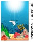 shark in  beautiful underwater... | Shutterstock .eps vector #1202104636