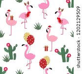 cute flamingos  cactus and... | Shutterstock .eps vector #1202129509