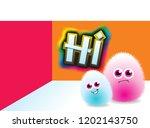 shaggy cartoon pink and blue... | Shutterstock .eps vector #1202143750