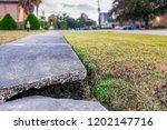 broken concrete pedestrian...   Shutterstock . vector #1202147716