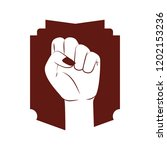hand in fight signal with... | Shutterstock .eps vector #1202153236