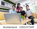 freelance working meeting and... | Shutterstock . vector #1202157349