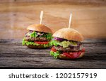 big sandwich   hamburger burger ... | Shutterstock . vector #1202157919