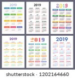 calendar 2019. colorful set.... | Shutterstock .eps vector #1202164660