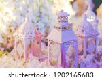group of white vintage lantern... | Shutterstock . vector #1202165683