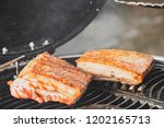 grill bbq of crispy pork on the ... | Shutterstock . vector #1202165713