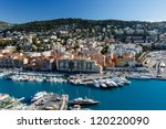 aerial view on port of nice and ... | Shutterstock . vector #120220090