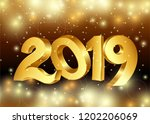 2019 new year. gold numbers on... | Shutterstock .eps vector #1202206069