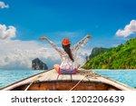 traveler woman joy fun on boat...   Shutterstock . vector #1202206639