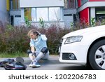 car accident concept. young... | Shutterstock . vector #1202206783
