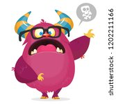angry  cartoon monster with... | Shutterstock .eps vector #1202211166