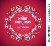 vector round christmas frame... | Shutterstock .eps vector #1202223796