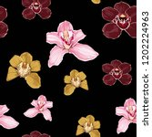 pink burgundy yellow orchid... | Shutterstock .eps vector #1202224963