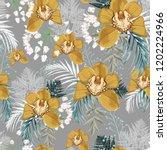 yellow orchid  herbs  fern ... | Shutterstock .eps vector #1202224966