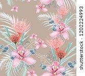 pink orchid  protea  herbs ... | Shutterstock .eps vector #1202224993