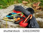 metal carabine and rope for... | Shutterstock . vector #1202234050