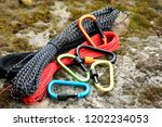 metal carabine and rope for... | Shutterstock . vector #1202234053