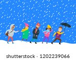 people in winter warm clothes...   Shutterstock .eps vector #1202239066