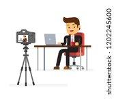 video blogger making stream | Shutterstock .eps vector #1202245600